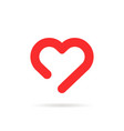 red linear happy valentines day heart vector image vector image