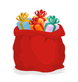 Red Sack Santa Claus with gifts Holiday outdoor vector image vector image