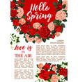 rose flowers poster for springtime season vector image vector image