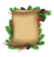 Scroll paper with spruce branches and red berries vector image