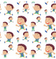 seamless background with boys runnign vector image vector image