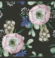 seamless pattern with delicate ranunculus vector image vector image