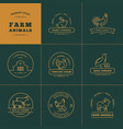 set 8 farm logos made in a linear style vector image