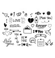set of hand drawn doodle love elements for vector image