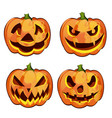 set ripe pumpkin with carved eyes and mouth vector image vector image