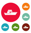 ship transport icons circle set vector image vector image