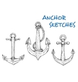 Sketch of vintage nautical anchors with rope vector image