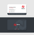 sleek grayish business card with red letter n vector image vector image
