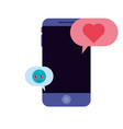 smartphone with speech bubbles isolated icon vector image vector image