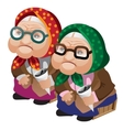 Two old women in glasses sitting with seeds vector image