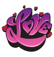 ultra violet sign the word love with heart vector image vector image