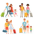 various characters of happy family at summer vector image