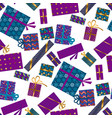 violet and blue xmas gift box seamless pattern vector image