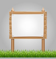 wooden information blank with green grass vector image vector image