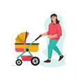 young mother walking with newborn baby in stroller vector image
