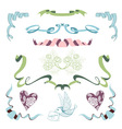Set with ribbons flowers and bird vector image
