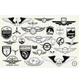 Set emblems elements badges logo Aviation vector image