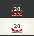 20 years happy anniversary banners vector image