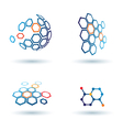 hexagonal abstract icons business and communicatio