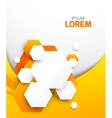 Abstract orange brochure with hexagons vector image
