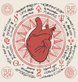 banner with red human heart and old magic symbols vector image