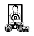 bitcoin cryptocurrency fintech vector image vector image