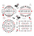black and red love and romantic message banner set vector image
