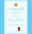 blue certificate or diploma template vector image vector image