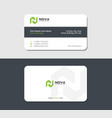 business card of torn paper with green letter n vector image vector image