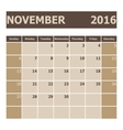 Calendar November 2016 week starts from Sunday vector image vector image