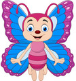 cartoon funny butterfly isolated vector image vector image