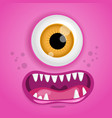 cartoon monster face halloween pink vector image vector image