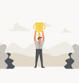 celebrating businessman holding winner cup trophy vector image