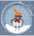 christmas card with little bird vector image vector image