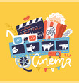 cinema sign with icons set flat doodle bright vector image vector image