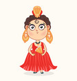 cute bagirl in a red carnival dress vector image