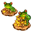 cute green tree frog with a red tongue stole a vector image vector image
