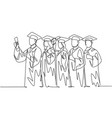 education concept one line drawing group young vector image