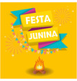 festa junina ribbon flag bonfire fireworks orange vector image vector image