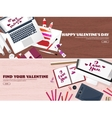 Flat background with paper envelope Love hearts vector image