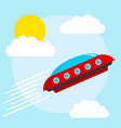 flying alien ship concept background flat style vector image