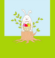 funny easter bunny siting on the stump with a vector image