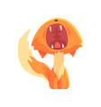 funny red kitten yawning cute cartoon animal vector image