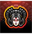 geisha head esport mascot logo design vector image vector image