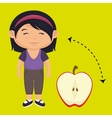 girl cartoon fruit sliced apple vector image vector image