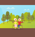 grandparents people sitting on bench in green park vector image vector image