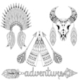 Hand drawn American native wigwam warbonnet animal vector image