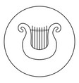harp icon black color in round circle vector image