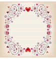 hearts and flowers frame on lined note book paper vector image vector image
