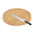 Knife on cutting board isolated on white The vector image vector image
